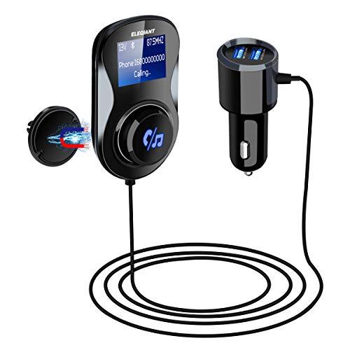 ELEGIANT Bluetooth FM Transmitter, FM Adapter Empfänger KFZ Auto Radio Adapter Auto MP3 Player Bluetooth Adapter Radio Transmitter mit Mikrofon+2 USB Port+ magnetisch Halter+TF-Karte unterstützen