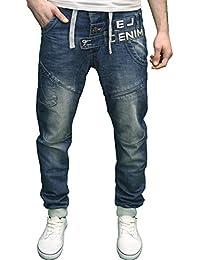 Eto Mens Designer Branded Regular Fit Darkwash Detailed Cuffed Jogger Jeans