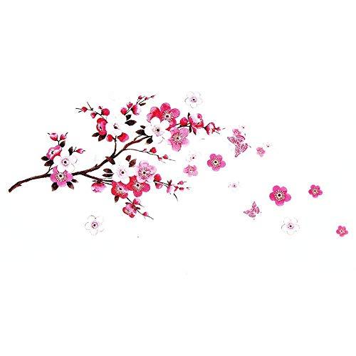 Adesivi murali fiori sakura - rimovibile fiore di ciliegio ramo d'albero decalcomanie murales - decorazioni per la casa fai da te adesivi murali - dracarys
