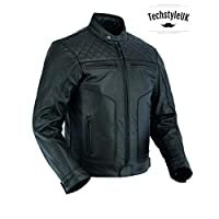 Techstyleuk® Best UK Mens Motor Cycle Motor Biker Touring Genuine Strong Cow Leather Jacket (6XL) Black