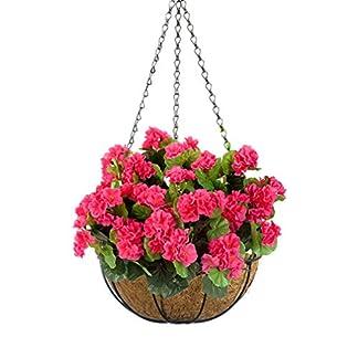Mynse – Juego de cestas Colgantes de Coco con Flores Artificiales de Begonia con Cadena para decoración de Interiores