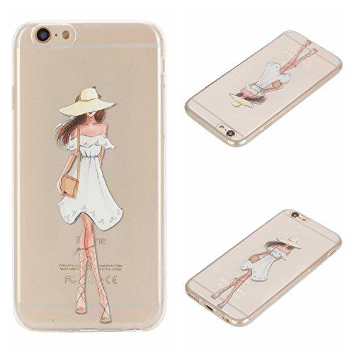 Voguecase® Per Apple iPhone 6/6S 4.7, Custodia Silicone Morbido Flessibile TPU Custodia Case Cover Protettivo Skin Caso (unicorno 02) Con Stilo Penna vestito bianco ragazza 05