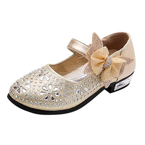 Ansenesna Sandalen Mädchen Mit Absatz Für Hochzeit Strass Glitzer Elegant Schuhe Mädchen mit Klettverschluss Princess Schuhe