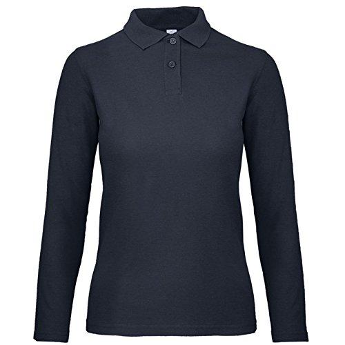 Chemagliette! polo da lavoro donna maglia maniche lunghe con colletto cotone piquet b&c basic ls, colore: navy, taglia: m