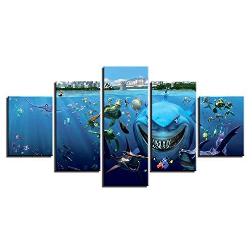 Muwill Leinwanddruck Tiere, 5 Stück Groß Kreativ Abstrakte Cartoon Shark Schildkröte Bilder Drucken Auf Leinwand Poster Für Wohnzimmer Home Decor Gemälde, M