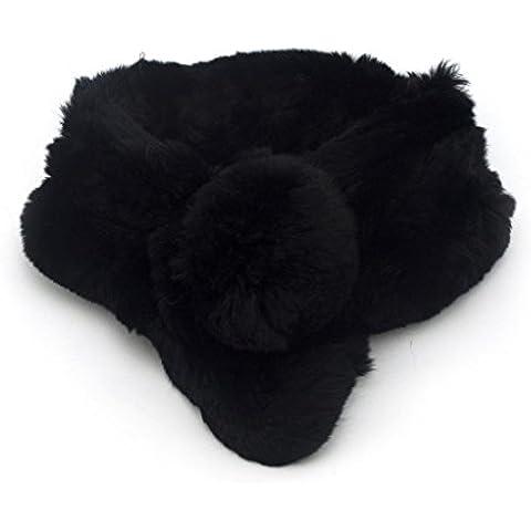 Lussuoso morbido Furry Sciarpa Nera 65cmL