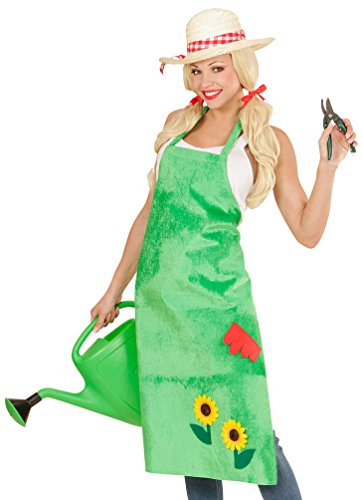 (Karneval-Klamotten Gärtnerschürze grün lang mit Sonnenblumen Karneval Fasching Gärtnerin Damen-Kostüm Einheitsgröße)