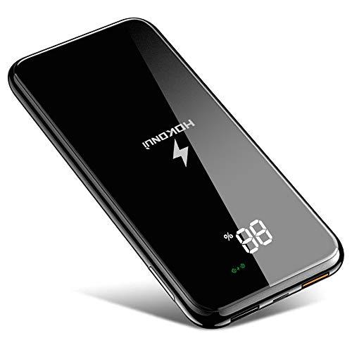 Kabellose Powerbank 10000mAh QI Wireless Charger mit digitaler Anzeige flacher Glasoberfläche und Handyhalterung externer Akku QC 3.0 induktives Ladegerät für iphone samsung huawei Smartphones
