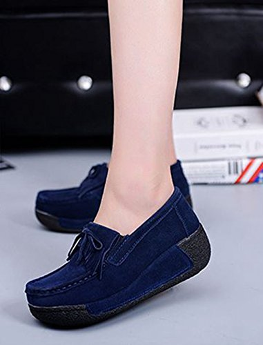 JRenok Mocassins Compensé Femme Loisir Printemps Chaussures Suede Gland Confort Plates Loafers Antidérapante 35-41 Bleu