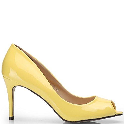 Ideal Shoes–Scarpe spuntate col tacco, di vernice, mod. Jacinta Giallo