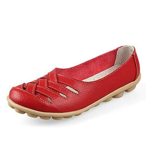 Damen Leder Loafers Mokassins Casual Flat Boot Schuhe Hollow Cut Out Driving Sandalen mit Super Soft Gummi Anti-Rutsch Massage Sohle für Mutter BaojunHT®, Red_b - Größe: 41 EU -