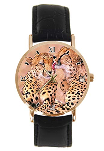 Cheetah Animal Print Armbanduhr Fashion Classic Unisex Analog Quarz Edelstahl Gehäuse Lederarmband Uhren -