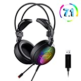 ELEGIANT Gaming Headset Computer kopfhörer 7.1 Surround-Sound LED Licht kompatibel mit PlayStation 4 PS4 Xbox One mit Mikrofon Professional Gamer Over Ear Kopfhörer Funktioniert mit PC, Laptop, Mac, Tablet, Smartphone usw