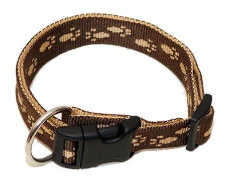 hundeinfo24.de Hundehalsband, Wienerlock®, Soft Nylon, Braun, Beige Pfötchen, 30-50cm, 20mm, mit Zugentlastung