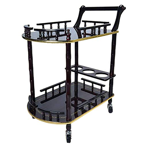 ZHTY Servicewagen Bar Weinlagerung Servierwagen, 2 Weinregale der Stufe 3 Wooden Kitchen Island Utility Trolley Organizer-Gestell Universal Wheel - 2 Color -