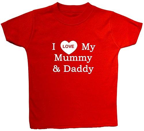Acce Products T-Shirts pour bébé/Enfant Inscription I Love My Mummy & Daddy 0 à 5 Ans - Rouge - 2-3 Ans