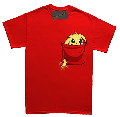 Electric Bunny Monster Cute in my pocket Herren T Shirt Rot