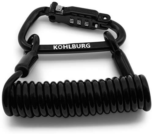 KOHLBURG 5mm Starkes Zahlenschloss für die Tasche - extra sicheres Kabelschloss 140cm lang als Helmschloss & Kinderwagenschloss - gut geeignet als Schloss für den Motorradhelm -