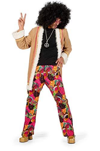 S Kostüm Afro Mit 70 - Wilbers 5456 Hippie-Kostüm Herren 2-teilig Jacke mit Fell-Saum und Hose Hochwertige Verkleidung Gruppenkostüm Partnerkostüm Männer Größe 54 Multi