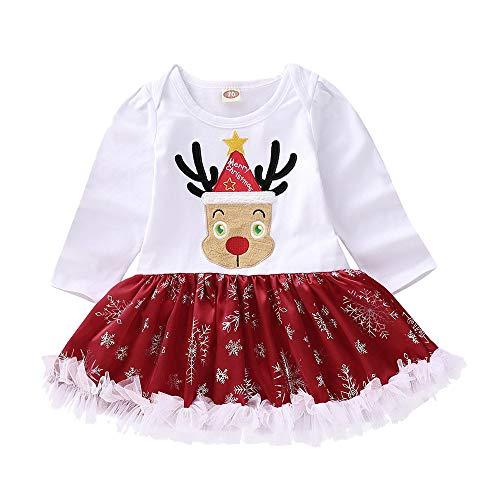 Oyedens Harbin Rock Langarm Weihnachten Fawn Elch Print Haber Rock Infant Baby Langarm Fawn Print Strampler Kleid Weihnachten Outfits Kleidung ()