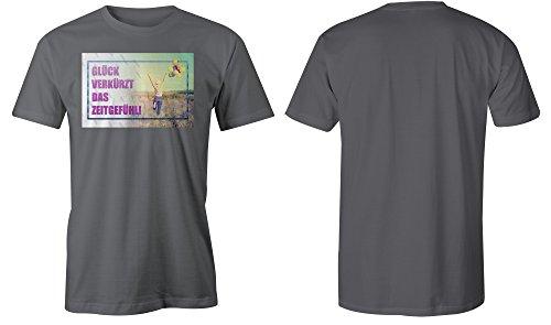 Glueck Verkuerzt Das Zeitgefuehl 3 ★ Rundhals-T-Shirt Männer-Herren ★ hochwertig bedruckt mit lustigem Spruch ★ Die perfekte Geschenk-Idee (06) dunkelgrau