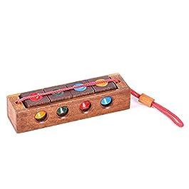 SODIAL Puzzle di legno di colore Crazy Four Keychain Burr Puzzle Rompicapo