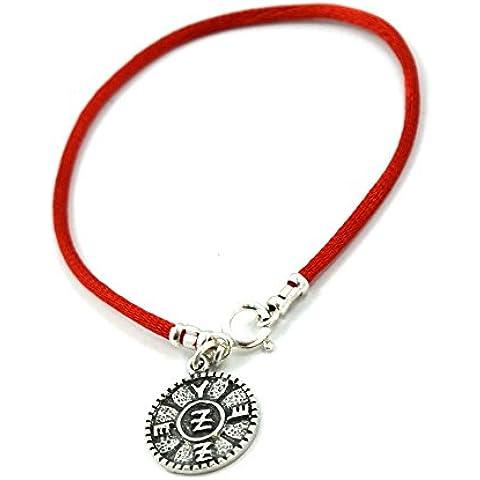 Spiritual protezione Salomone sigillo in argento Sterling su rosso seta–Bracciale Donna