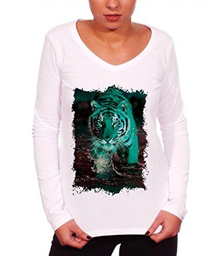 Three Monkeys Majestic Tiger Animals Collection Women's Long Sleeve T-Shirt