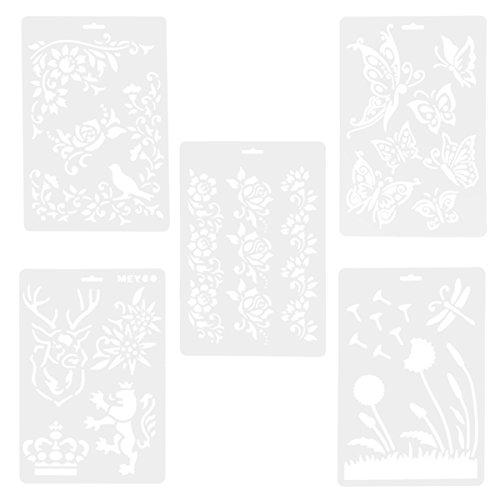 ULTNICE 5pcs Schablone Zeichnungen Vorlagen hohlen Papierkarte Malerei Maskierung Schablonen (Malen Schablone Zum)