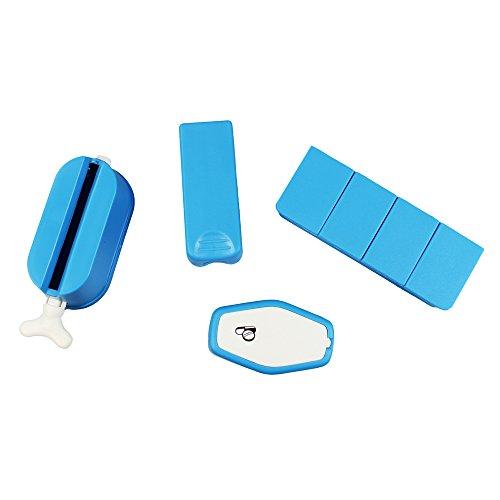 com-four® 4-teiliges Tabletten Zubehör Set Tablettendose Aufbewahrung Mörser Teiler Zahnpastapresse (Blau)