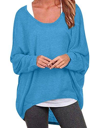 ZANZEA Damen Lose Asymmetrisch Jumper Sweatshirt Pullover Bluse Oberteile Oversize Tops Blau EU 46/Etikettgröße XL