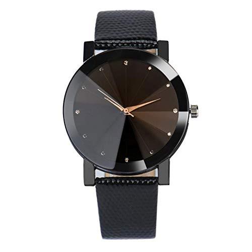 SSXY Paar Uhr, Diamant Konvexlinse Uhren Edelstahl Uhr Leder Band Uhrenliebhaber Geschenke - Weiblich Schwarz - Jubiläum-diamant-band