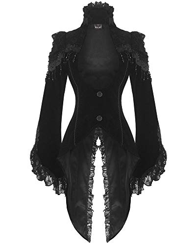 RQ-BL Edler Steampunk Gothic Damen Samt-Frack Jacke Mantel Barock (21119), Größe:XXL