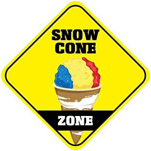 DOGT Metal Sign 12x12 inches Snow Cone Zone Crossing Funny Metal Aluminum Novelty Sign - Vintage Snow Cone