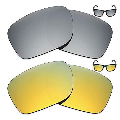 MRY 2Paar Polarisierte Ersatz Gläser für Oakley Holbrook Sonnenbrille-Reiche Option Farben, Silver Titanium & 24K Gold