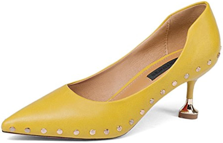 HWF Zapatos para mujer Zapatos de tacón alto con punta en primavera Tacones delgados Zapato de tacón bajo en el...