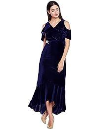 Navy blue cold shoulder ruffle dress with embellished waist