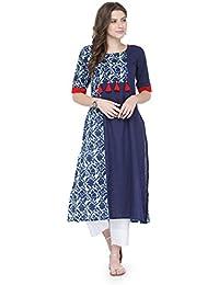 Varanga Blue Cotton Printed Kurta KFF-VAR21126