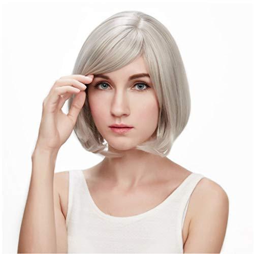 TD E528 Perücke, Mittleren Alters Kurze Glatte Haare Silberweiß Bobo Kopf Kurze Haare Schräg ()