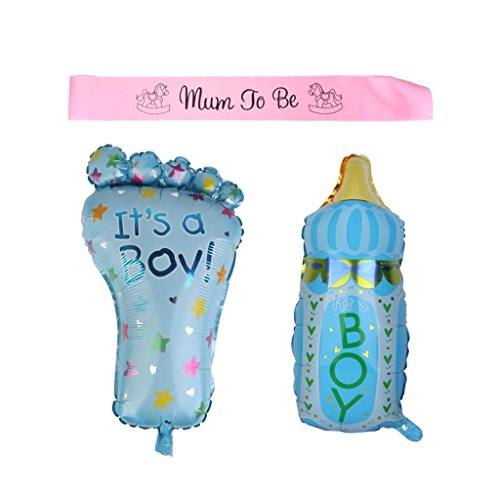 Zu Ballon Mama Sein (MagiDeal Aluminum It's A Boy Fuß Flasche Ballons Baby Shower + Mum to be Schärpe Geschenk Set)