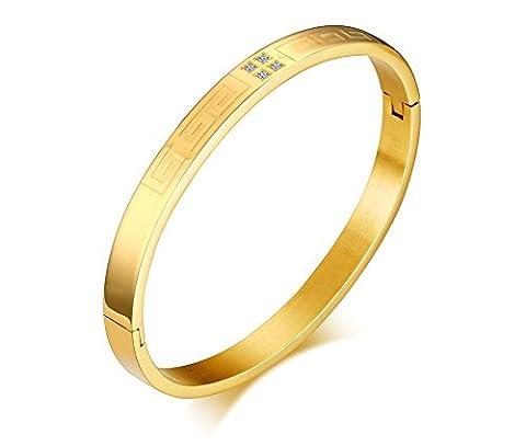 Vnox Edelstahl Cubic Zirkonia griechischen Key gravierte Cuff Armreif Armband