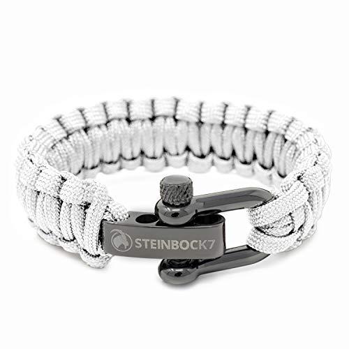 STEINBOCK7 Paracord Survival Armband, Weiss - Glanz-Edelstahl Verschluss Einstellbar, Inklusive Anleitung zum Flechten