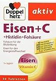Doppelherz Eisen + C + Histidin + Folsäure – 10 mg Eisen für Den Normalen Energiestoffwechsel und die Bildung von Roten Blutkörperchen – 1 x 30 Tabletten