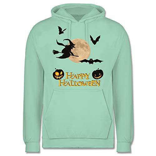 Halloween - Happy Halloween Mond Hexe - XL - Mint - JH001 - Herren Hoodie
