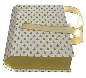 Idena 30151 - Caja de Regalo, diseño de árbol de Navidad, Color Blanco y Dorado