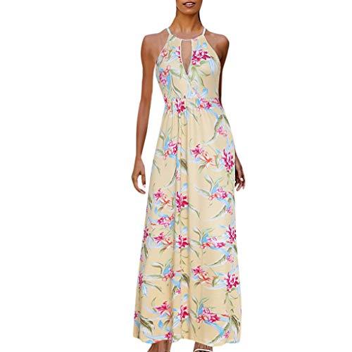 CANDLLY Kleider Damen, Ballkleid Strandkleid Partykleid V-Ausschnitt Blumendruck Kleid Elegante ärmellose Rüschen Langkleid Mode Kleider Böhmen Party Bodenlänge Kleid(Gelb,XXL