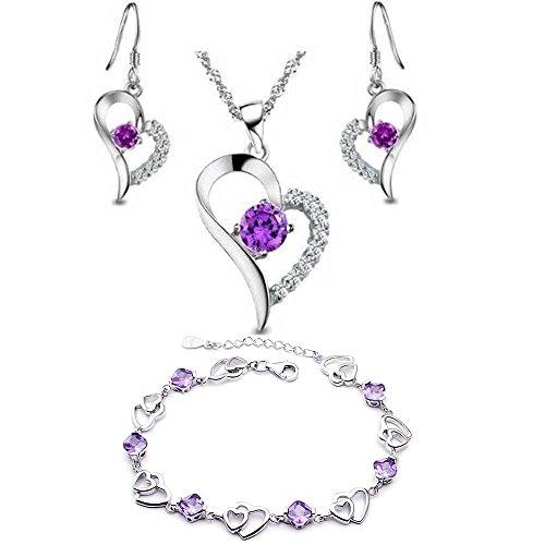 r Amethyst Herz Set Ohrringe und Anhänger Halskette + Armband .für Frauen Mädchen-Form s368 (Halskette Und Ohrringe Set)