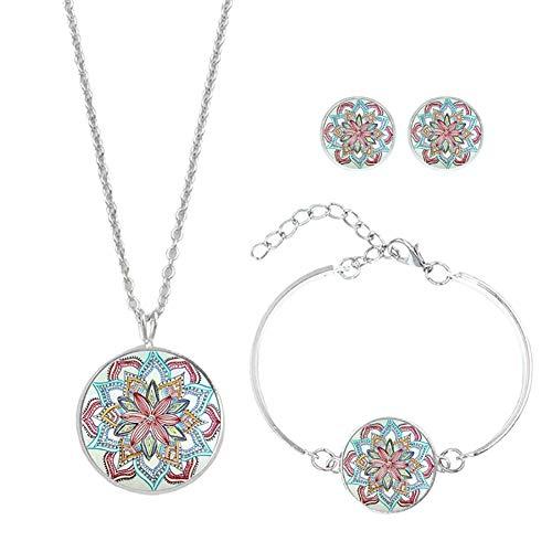 Cdet. Conjunto Pendientes Collar y Pulsera Moda Joya Elegante Joyas de Mujer Conjunto de gem Flor de Mandala Colgante Collar + Pendientes + Pulsera(Estilo 10)