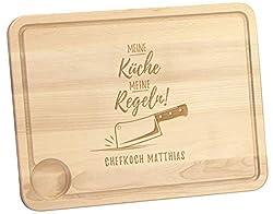 LAUBLUST Schneidebrett Meine Küche Motiv - Küchenbrett Personalisiert mit Wunschgravur - 40x30x2cm, Holz, Natur, FSC®
