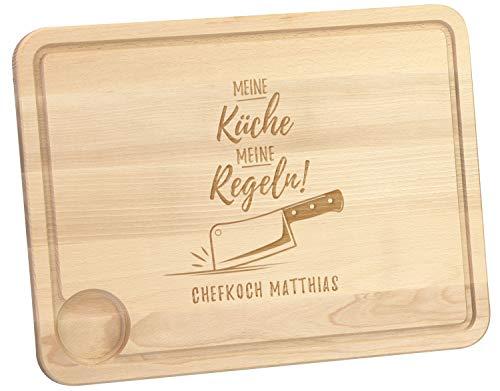 LAUBLUST Schneidebrett Meine Küche Motiv - Küchenbrett Personalisiert mit Wunschgravur - 40x30x2cm, Holz, Natur, FSC® - Holz-messer Personalisierte